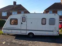 abby adventura 4 berth fixed bed caravan motor mover. full kitchen. alko hitch lock.