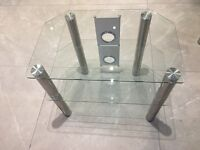 Glass corner TV table with chrome legs