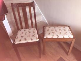 Wooden oak chair and stool