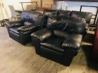 As new black leather 3 11 sofas set