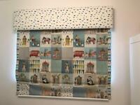 Children's Nursery Animal Roman Blind with Valance and Cushions