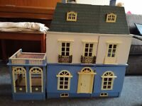 Handmade wooden dolls house with working lights and loads of furniture
