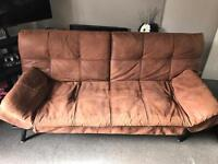 Large suede look sofa bed