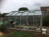 "Good condition aluminium walk-in big Greenhouse 12' X 8'6"" w double sliding doors. Pick up from WsM"