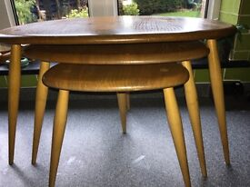 ORIGINAL ERCOL NEST OF PEBBLE TABLES - BLOND