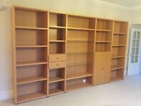 Large Hulsta light oak display and bookcase unit - Excellent condition