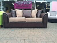 3+2 THE BYROL 1 OFF DEAL 3+2 SOFA IN JUMBO CORD MINK WITH RHINO AFFECT SNAKE BROWN BODY £325