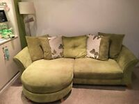 Stylish chaise sofa with chair & footstool