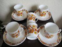 vintage retro, 60's/70's - coffee set, 6 cups, 6 saucers - £20