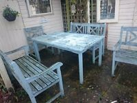 Garden Furniture - Wooden table, 2 benches, 2 chairs