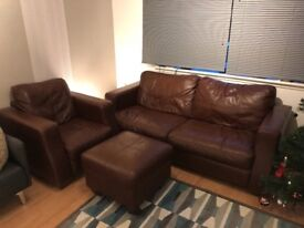 3 piece leather suite - sofa, armchair, footstool