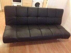 Brown faux leather sofa bed reduced £20