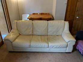 Free genuine leather 3 seater sofa