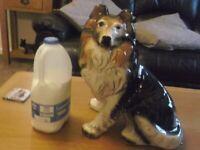 LARGE China/Porcelain Lassie Collie Dog Ornament