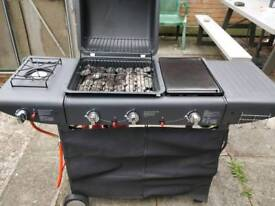 Gas BBQ lava rocks, hot plate and burner