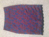 Zara Burgundy Navy Blue Flowers Floral Silk Skirt