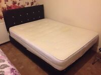 Black & White 6ft Leather & Fabric Material Kingsize Double Bed With Mattress - Very Good Condition