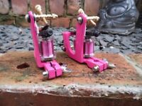 PAIR OF PINK TATTOO MACHINES SMALL U SMOOTH LINER & ROGER STYLE SOFT SHADER UK