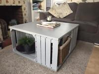 Handmade coffee table made from apple crates - great for storage