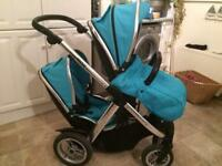 Oyster Max Tandem Pram and Cybex Car Seat with Isofix Base