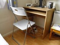 Computer table and folding chair