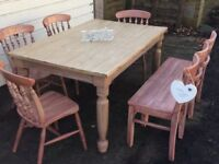 SOLID PINE RUSTIC TABLE 4 CHAIRS AND A BENCH