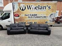 3&2 seater sofa in a black leather £350 mint mint condition