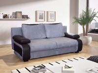 NEW LARGE SOFABED FABRIC / FAUX LEATHER WITH STORAGE 3 SEATER DOUBLE BED