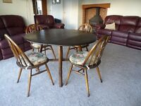 ERCOL DINING TABLE AND CHAIRS. WILL SELL SEPARATELY. £130