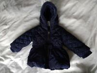 Girls blue winter coat 6-9 months