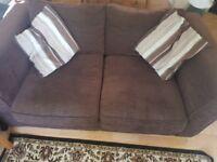 Set of brown fabric sofas
