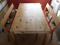 IKEA 4 Person Dining Table & 2 Benches with backs and cushions : Storage in both