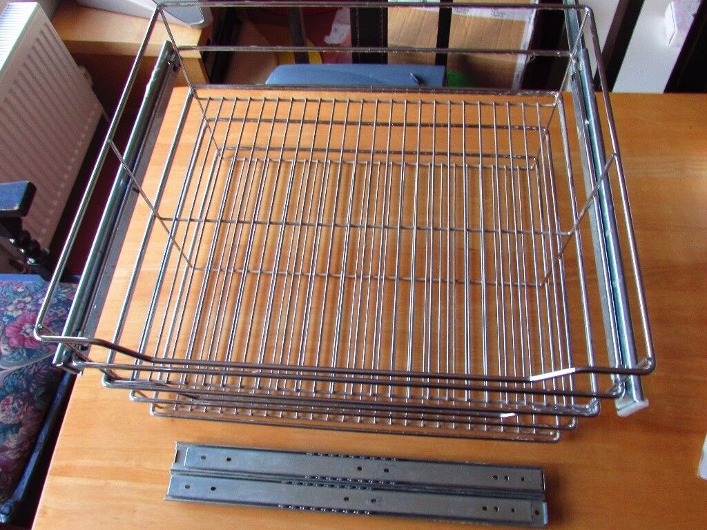 2 x Chrome finish Vegetable Basket Drawers for fitted kitchen 538mm wide approx.