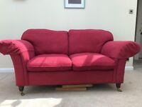 Laura Ashley 2 seater sofa, raspberry red
