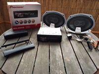 Pioneer DEH - 2300UB Car Stereo system, Original packaging, Bluetooth USB + Pair of FLI Speakers