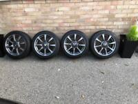"""Fiat 500 595 Abarth 16"""" 8 spoke alloy wheels with tyres"""