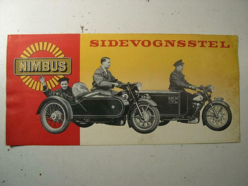 NIMBUS Motorcycle Side Car SIDEVOGNSSTEL Sales Brochure Literature Danish Print