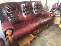 Oak framed leather sofa and poffe