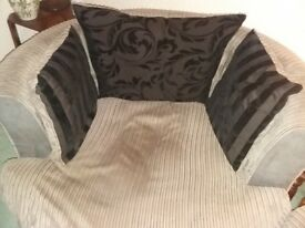 Large brown ccuddle sofa and footstool