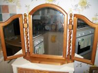 Pine Triple Dressing Table Mirror Freestanding