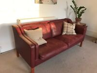 Cool vintage red leather sofa mid century