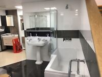 Complete bathroom suite - includes bath with shower and shower enclosure - can be split