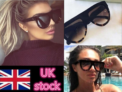 Womens Designer Oversized Sunglasses Flat Top Vintage Shadow Shield Chunky Celeb