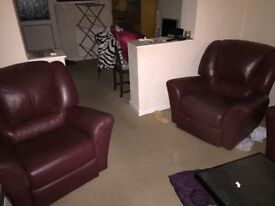 3PIECE SUITE, RED LEATHER SOFA & 2 RECLINING CHAIRS