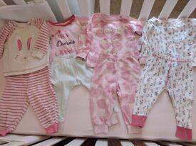 Baby girl x4 pyjamas x3 babygrows