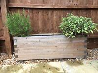 2x Wooden Rectangular High Garden Trough Planters