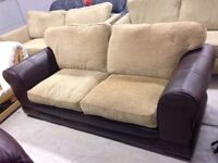 Beige Fabric & Leather 2 Seat Sofa