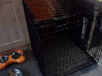 large metal dog crate ex cond folds flat with metal tray