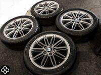 "GENUINE 17"" BMW ALLOY WHEELS WITH TYRES - 5 x 120 - FERRIC GREY FINISH"