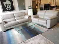EX DISPLAY ITALIAN LEATHER 3+2 SEATER SOFA SETTE COUCH | GREY | REAL LEATHER | 07824772721